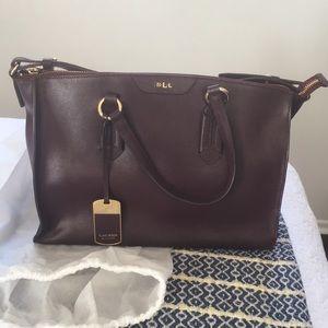 Lauren Ralph Lauren Burgundy Leather Satchel